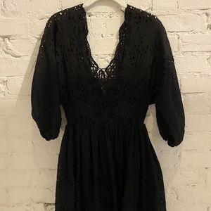 FREE PEOPLE BLACK EYELET DRESS